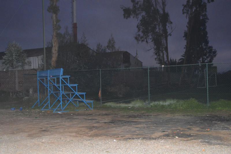 El sitio donde habrían ocurrido los disparos al interio del complejo deportivo